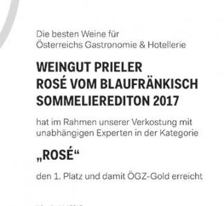 Gold für Prieler Rosé Sommelier Edition