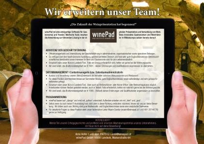 Winepad sucht Wein-Liebhaber mit Veränderungswunsch