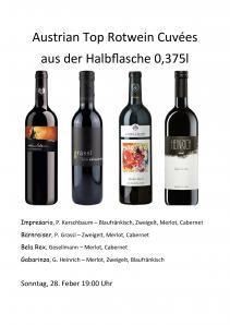 Austrian Top Rotwein Cuveés TRENDY  0,375l Flaschen Online Verkostung KSOV